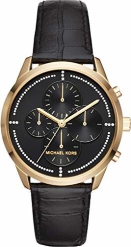 Michael Kors Damenuhr Leder/Sonstige Uhr analog Quarzwerk mit Lederband Armband MK2686 - 1