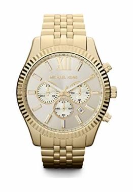 Michael Kors Herren-Armbanduhr Rund Analog Quarz One Size, goldfarben, Gold - 1