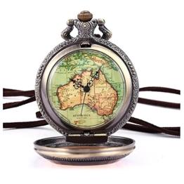 Retro Armbanduhr - SODIAL(R) Australien Karte Taschenuhr Analog Quarz Uhr Bronze Kettenuhr Unisex - 1