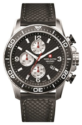 Swiss Alpine Military 7035.9537sam Uhr Schweizer Chronograph Stahl/schwarzes Zifferblatt Silber Armband Leder Schwarz - 1