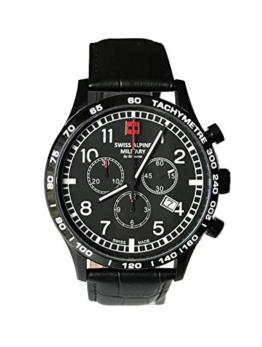 Swiss Alpine Military Aviator Chrono 1746.9577sam Schweizer Uhr Herren Chronograph Edelstahl beschichtet PVD schwarz Zifferblatt schwarz Gurt Leder schwarz - 1