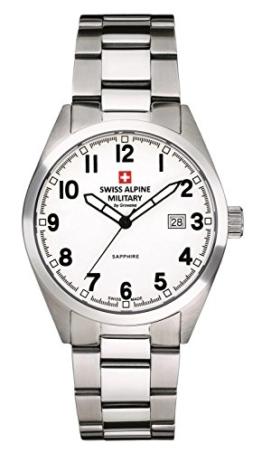 Swiss Alpine Military Leader 1293.1133sam Herren Schweizer Uhr Edelstahl weißes Zifferblatt Armis Edelstahl - 1