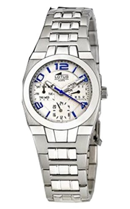 Uhr Lotus Crewman Multifunktions-Stahl und weißes Zifferblatt/Celeste 32mm. W.R. 10ATM - 1