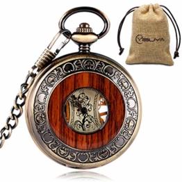 yisuya Holz-Taschenuhr, durchsichtige Rückseite, sichtbares Uhrwerk, Mechanische Uhr, Stil: Vintage / Retro, Römische Zahlen, mit Kette, tolles Geschenk - 1