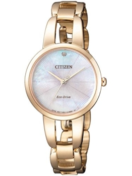 Citizen Damen Analog Quarz Uhr mit Edelstahl beschichtet Armband EM0433-87D - 1