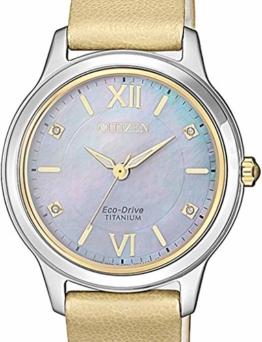 Citizen Damen Analog Quarz Uhr mit Leder Armband EM0724-17Y - 1
