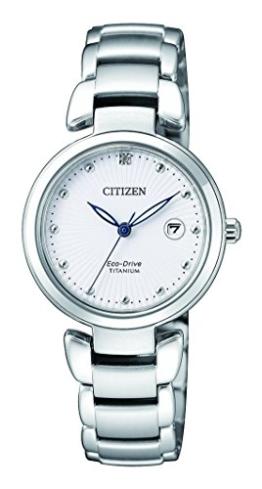 Citizen Damen Analog Solar Uhr mit Titan Armband EW2500-88A - 1