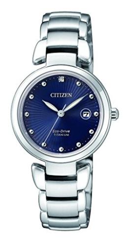 Citizen Damen Analog Solar Uhr mit Titan Armband EW2500-88L - 1
