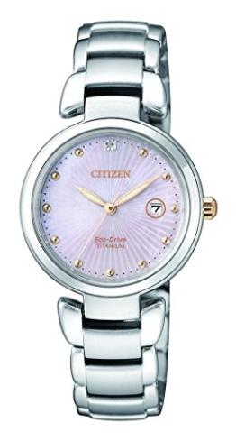 Citizen Damen Analog Solar Uhr mit Titan Armband EW2506-81Y - 1