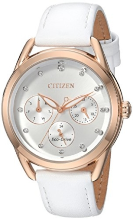 Citizen Damen-Armbanduhr 'Drive' Quarz Edelstahl und Leder Casual, Farbe: Weiß (Modell: FD2053–04A) - 1