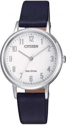Citizen EM0571-16A Uhr Damenuhr Lederarmband Edelstahl 5 bar Analog Blau - 1