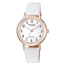 Citizen EM0579-14A Uhr Damenuhr Lederarmband vergoldet 5 bar Analog Weiß - 1