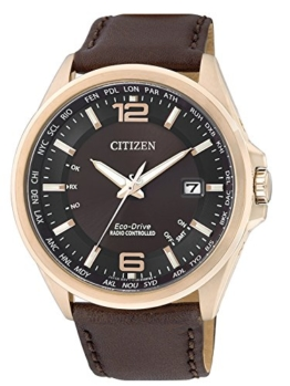 Citizen Herren-Armbanduhr XL Funkuhren Analog Quarz Leder CB0017-03W - 1