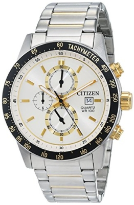 Citizen Herren Chronograph Quarz Uhr mit Leder Armband AN3604-58A - 1