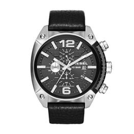 Diesel DZ4341 Overflow Chronograph Uhr Herrenuhr Lederarmband Edelstahl 100m Analog Chrono Datum schwarz - 1