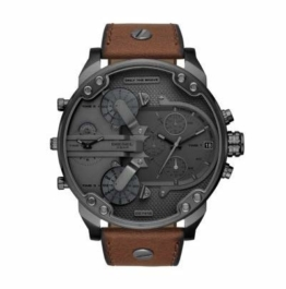 Diesel Herren-Armbanduhr Analog Quarz One Size, grau, braun - 1