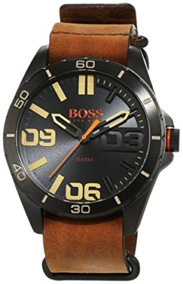 Hugo Boss Orange Herrenarmbanduhr Quartz Analog mit braunem Lederarmband 1513316 - 1