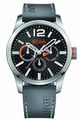 Hugo Boss Orange Paris Herren-Armbanduhr Quartz Analog mit grauem Silikon Armband 1513251 - 1