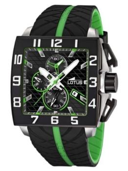 LOTUS 15773/6 Marquez Chronograph Uhr Herrenuhr Kautschuk Edelstahl 50m Analog Chrono Datum schwarz grün - 1