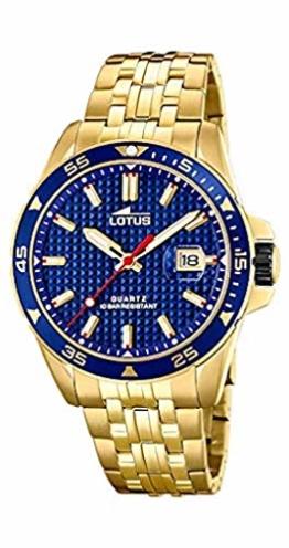 Lotus Herren Analog Quarz Uhr mit Edelstahl Armband 18654/3 - 1