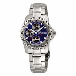 Uhr Lotus Multifunktion Zifferblatt blau und schwarz Armband aus Stahl - 1
