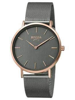 Boccia Damen Analog Quarz Uhr mit Edelstahl Armband 3273-08 - 1