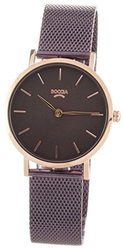 Boccia Damen Analog Quarz Uhr mit Edelstahl Armband 3281-05 - 1