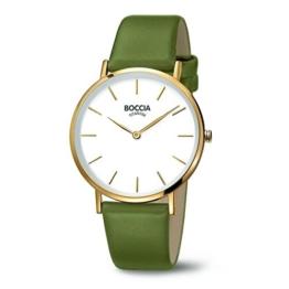 Boccia Damen Analog Quarz Uhr mit Leder Armband 3273-05 - 1