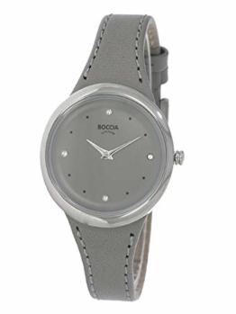 Boccia Damen Analog Quarz Uhr mit Leder Armband 3276-07 - 1