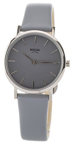 Boccia Damen Analog Quarz Uhr mit Leder Armband 3281-03 - 1