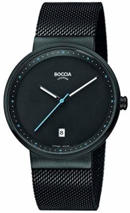 Boccia Herren Analog Quarz Uhr mit Edelstahl Armband 3615-02 - 1