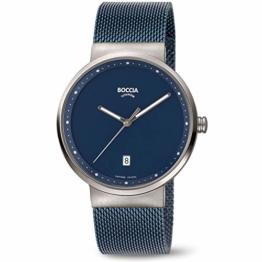 Boccia Herren Analog Quarz Uhr mit Edelstahl Armband 3615-05 - 1