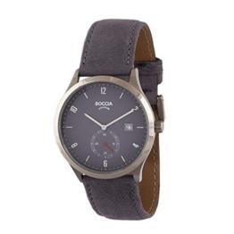 Boccia Herren Analog Quarz Uhr mit Leder Armband 3606-03 - 1