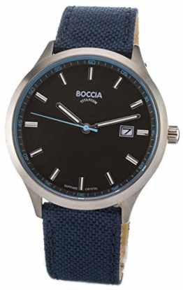 Boccia Herren Analog Quarz Uhr mit Leder Armband 3614-02 - 1