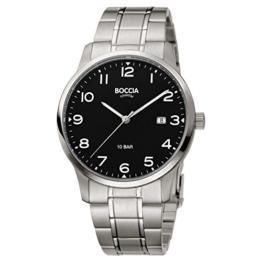 Boccia Herren Analog Quarz Uhr mit Titan Armband 3621-01 - 1