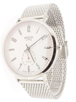 Boccia Herren-Armbanduhr Analog Quarz Edelstahl weiß (silber/weiß), 3592-03 - 1