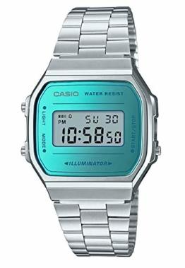 Casio Unisex Erwachsene Digital Quarz Uhr mit Edelstahl Armband A168WEM-2EF - 1