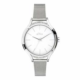 s.Oliver Damen Analog Quarz Uhr mit massives Edelstahl Armband SO-3694-MQ - 1
