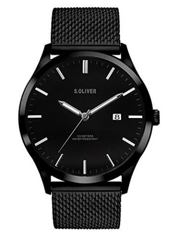 s.Oliver Herren Analog Quarz Uhr mit Edelstahl Armband SO-3479-MQ - 1