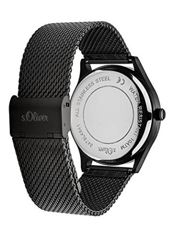 s.Oliver Herren Analog Quarz Uhr mit Edelstahl Armband SO-3479-MQ - 3
