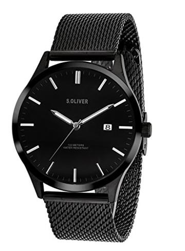 s.Oliver Herren Analog Quarz Uhr mit Edelstahl Armband SO-3479-MQ - 5