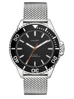 s.Oliver Herren Analog Quarz Uhr mit Edelstahl Armband SO-3482-MQ - 1