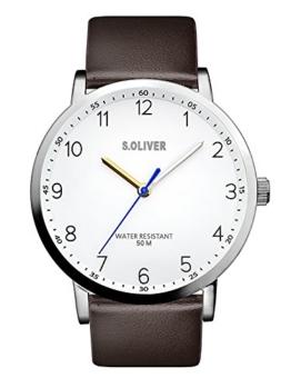 s.Oliver Herren Analog Quarz Uhr mit Leder Armband SO-3480-LQ - 1