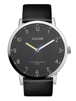 s.Oliver Herren Analog Quarz Uhr mit Leder Armband SO-3481-LQ - 1