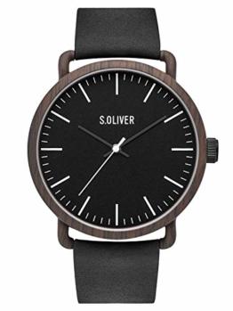 s.Oliver Herren Analog Quarz Uhr mit Leder Armband SO-3752-LQ - 1
