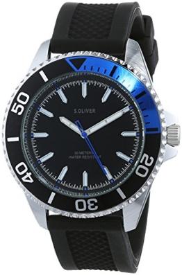 s.Oliver Herren Analog Quarz Uhr mit Silikon Armband SO-3483-PQ - 1