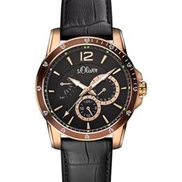 s.Oliver Herren-Armbanduhr Analog Quarz Leder IP Gold SO-15150-LMR - 1
