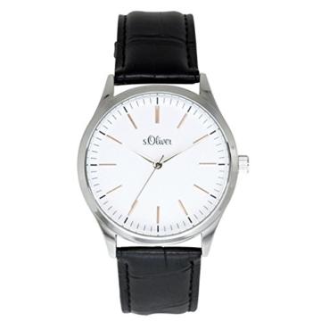 s.Oliver Herren-Armbanduhr Analog Quarz Leder SO-15143-LQR - 1