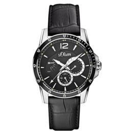 s.Oliver Herren-Armbanduhr Analog Quarz Leder SO-15148-LMR - 1