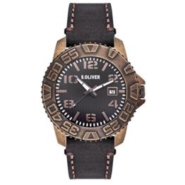 s.Oliver Herren-Armbanduhr Analog Quarz Leder SO-15155-LQR - 1